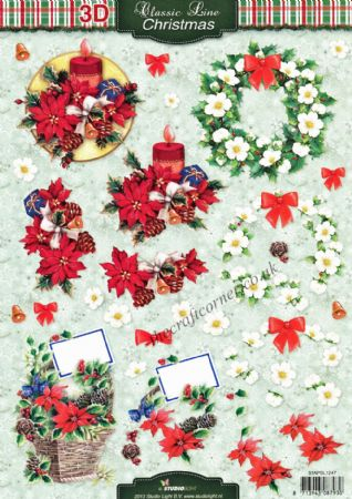 Christmas Flowers 3d Decoupage Craft Sheet